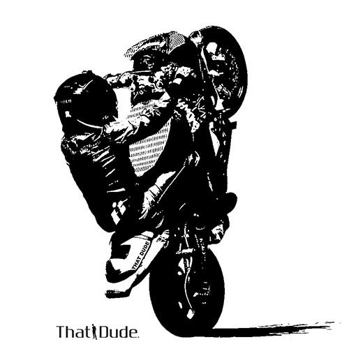 Motorcycle Stunt Lovey Dove Design
